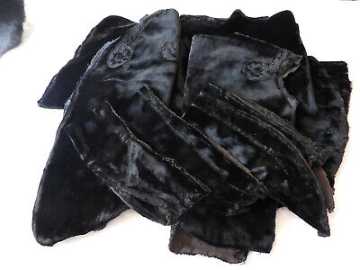 Antique Victorian Black Silk Velvet Ladies Jacket In Pieces Pattern Study VGC