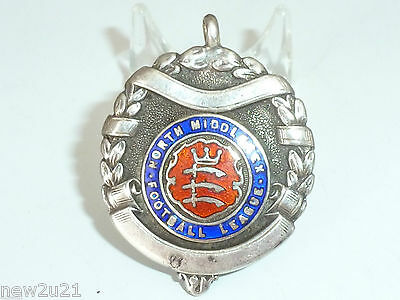 Antique Sterling Silver Enamel Albert Watch Chain Fob 1924 Football Middlesex