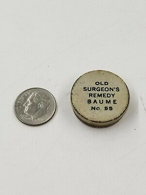 Antique Old Surgeons Remedy Baume No 55 Miniature Sample Medicine Tin