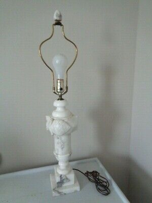 Estate Vintage Carved MARBLE Urn Shape Table Lamp w/ Marble Finial