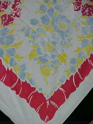 """Vintage Tablecloth Printed Cotton RED Floral 40s Era 46x54"""" Estate Cutter Craft"""