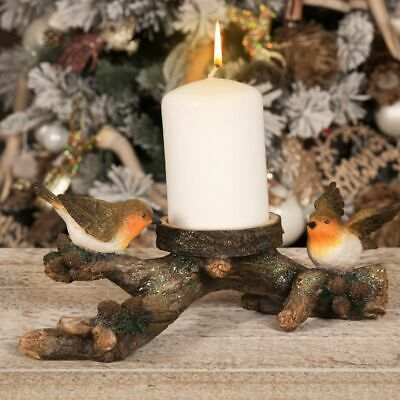 Christmas Robins On A Log Candle Holder Decoration