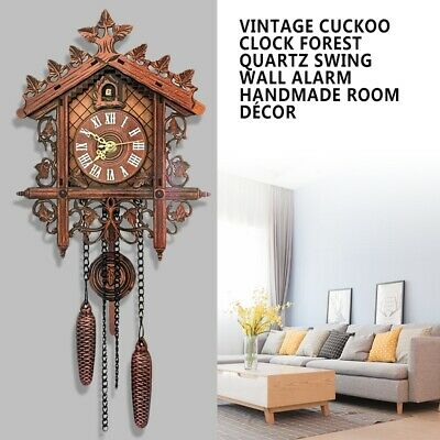Vintage Cuckoo Clock Forest Quartz Swing Classic Wall Alarm DIY Hanging Pendulum