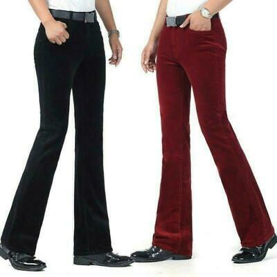 Mens Fashion Casual Stretch Corduroy Flared Trousers Pants Fitted Bell Bottom