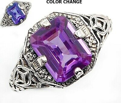 2CT Color Changing Alexandrite 925 Sterling Silver Art Deco Ring Jewelry Sz 9