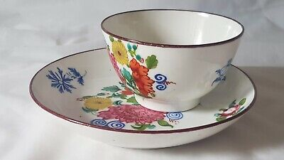 Charming Newhall Tea Bowl & Saucer Bowl Circa 1790 Hand Painted Floral Design