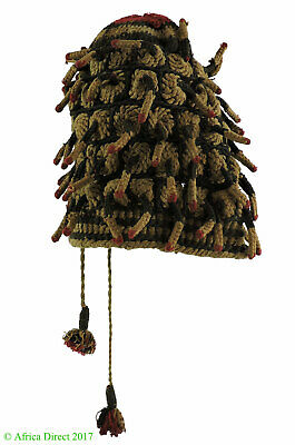 Bamileke Hat Fingerlings Woven Cameroon African Art SALE WAS $250.00