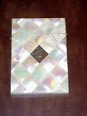 Antique Mother of Pearl Card Case Victorian Calling Card Case Holder Sadie