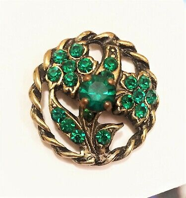 Vintage Floral Jewel Button With Bright Green Paste