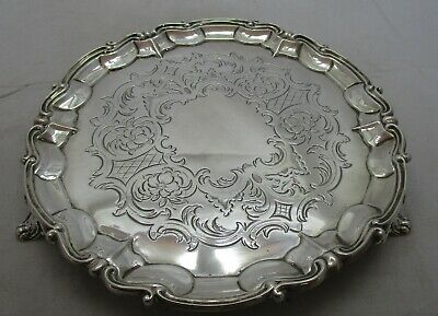 Antique Victorian Sterling silver salver, 8 inches, 1849, 372 grams