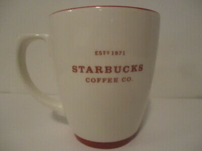 Starbucks Coffee Co Est 1971 Abbey White HOLIDAY RED Trim LARGE 2007 18 oz Mug