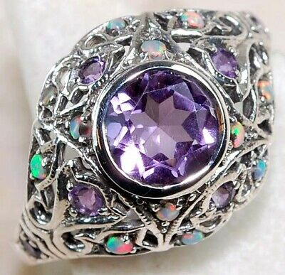 2CT Amethyst & Opal 925 Solid Sterling Silver Art Deco Ring Jewelry Sz 6
