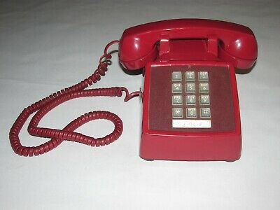 Vintage Bell Western Electric Touch Tone Telephone, Red Color, Dated 6/76,