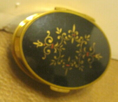 Vintage Solid Brass Oval Shaped Powder Compact w Enameled Top & Mirrored Lid!!!!