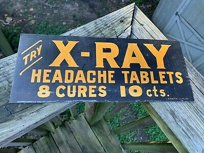 "Vintage 1930's X-Ray Headache Tablets Drug Medicine Gas Station Oil 14"" Sign"