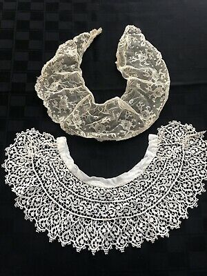 2 Antique Brussels Point De Gaze Lace Collar early 1900s Vtg Lot Handmade