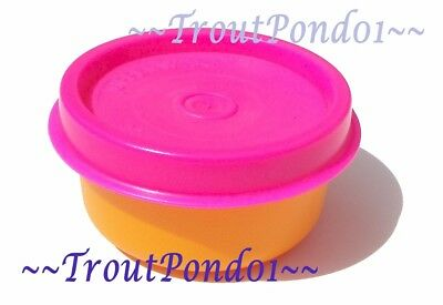 Tupperware Smidgets Mini Tiny Bowl Container 1 oz Oragne with Neon Pink Seal New