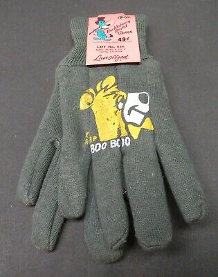 Vintage Childs Boo Boo Hanna Barbera Productions, Huckleberry Hound Green Gloves