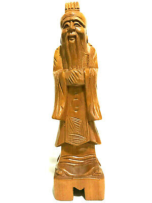 "Chinese/Asian Wood Hand Carved Old Man Figurine Wise Old Man 12""T 3""L 3""W"