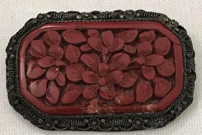 Antique Chinese Export  Cinnabar Carved Flowers Brooch/Pin in Filigree Frame