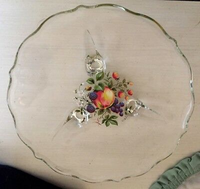Vintage Clear Glass Footed Scalloped Candy Dish~Bon Bon Dish Plate 7.5""