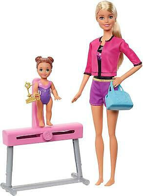Barbie Gymnastics Coach And Dolls Playset Pink Baby Bottle And Purple Cell Phone