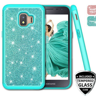 For Samsung Galaxy J2 Shine/Pure/Dash Case Bling Glitter Armor +Tempered Glass