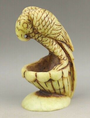 Chinese old natural jade hand-carved statue eagle brush washer 4 inch
