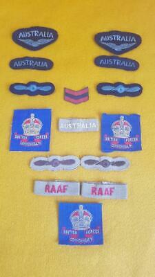 15 WWII Era RAAF (Royal Australian Air Force) & Commonwealth Forces Cloth Badges