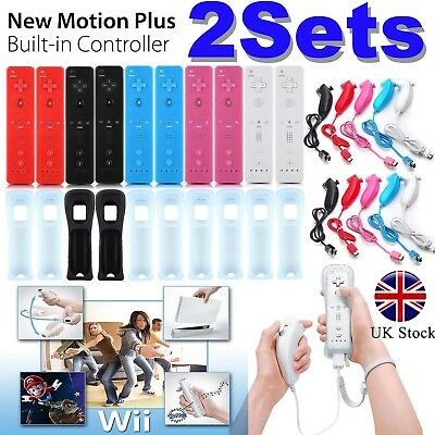 1/2SETS REMOTE CONTROLLER and NUNCHUCK FOR NINTENDO WII &WII U+SILICONE+STRAP UK