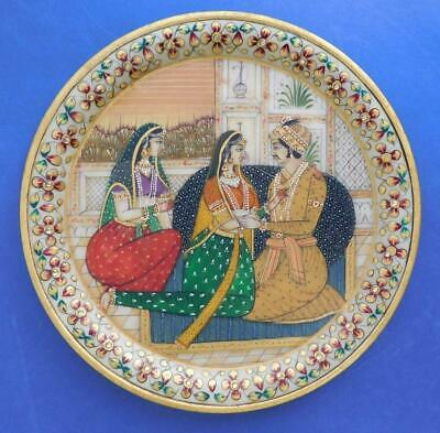 Persian North Indian Hand painted marble Stone Plate Mughal