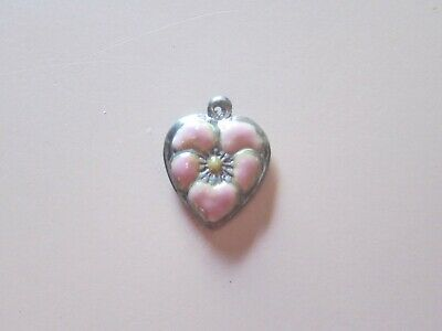 Vintage Sterling silver enameled puffy heart charm-PEARL PINK pansy-UNIQUE