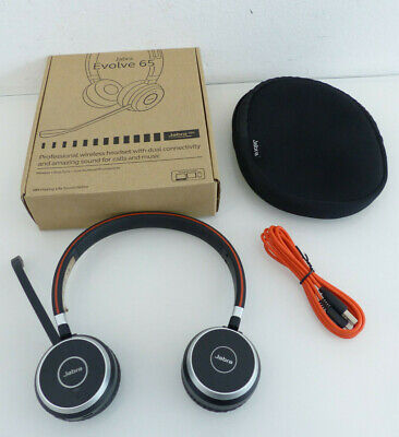 Jabra GN Evolve 65 Stereo UC & Link 370 bluetooth Headset Kopfhörer Headphone #
