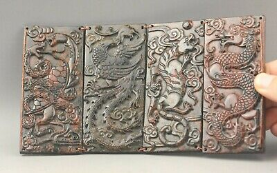 Chinese old natural jade hand-carved statue folding screen 7.5 inch