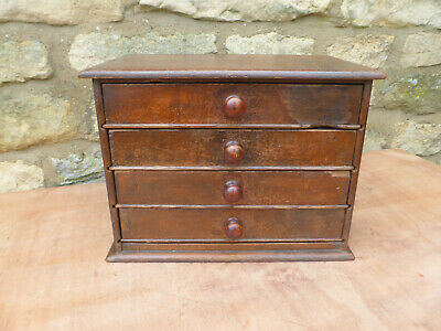 Victorian Small Pine Drawers 4 High. Original Condition with Turned Knobs