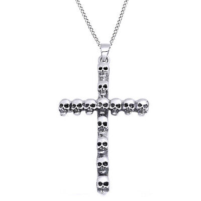 """Valentine's Day 925 Sterling Silver Multi Skull Cross Pendant with 18"""" Chain"""
