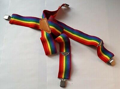 Rainbow Stripe Canvas (Mens) Braces/ Suspenders with Silver-Tone Fixing. LGBTQ+