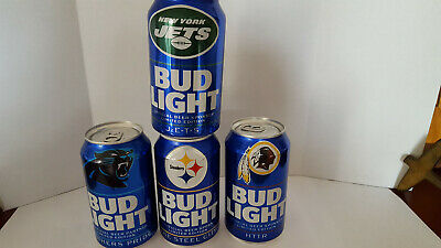 Bud Light *Steelers, Jets,Redskins,Panthers * 2019 12 Oz Can  *Empty*Bottom Open