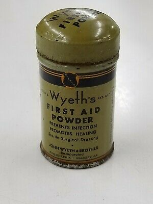 Vintage Wyeth's First Aid Powder Trial Size Miniature Trial Medicine Tin Phila.