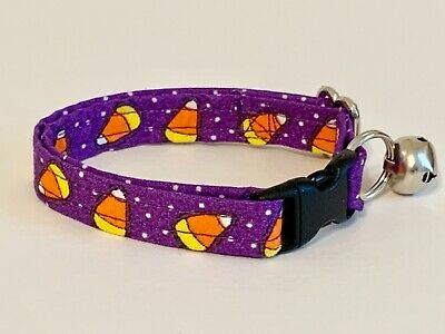 CANDY CORN ON PURPLE CAT OR KITTEN COLLAR (you choose the size)
