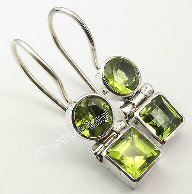 "925 Silver Genuine PERIDOT Earrings 1"" SEMI PRECIOUS GEMSTONE NEW"