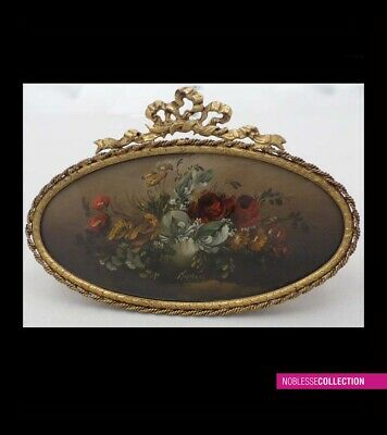 """LARGE ANTIQUE 1900s FRENCH MINIATURE PAINTING OIL ON BRASS """"bouquet of flowers"""""""