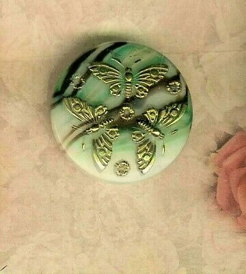 Agatised Glass Button with 3 Gold Luster Butterfly