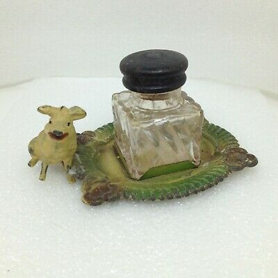 Antique INKWELL Tin Tray and Cast Iron Painted PIG Clear Glass Ink Well Enamel