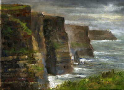 Cliffs of Moher, Ireland 9x12 in. Original Oil on canvas Hall Groat II