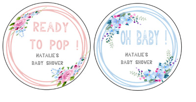Personalised Ready to Pop Oh Baby Shower 24 round labels favours