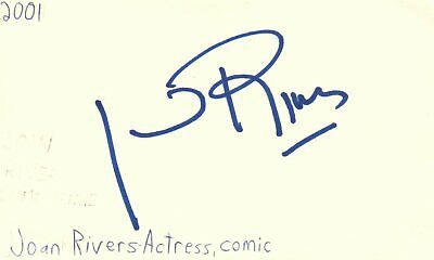 Joan Rivers Actress Comedian TV Movie Autographed Signed Index Card JSA COA