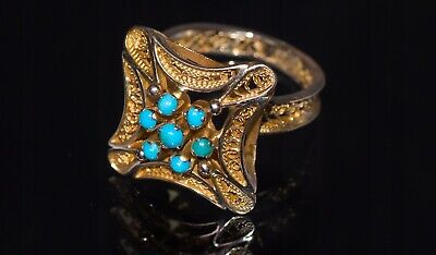 BEAUTIFUL GOLD RING WITH THE TURQUOISE 18k to 22k gold antique
