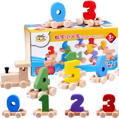Wooden Digital Numbers Train Early Learning Educational Toy Set Kids Toddler DP