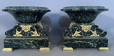(2) Antique 19thC French VICTORIAN CARVED MARBLE BRASS Old MANTEL TAZAS Compote